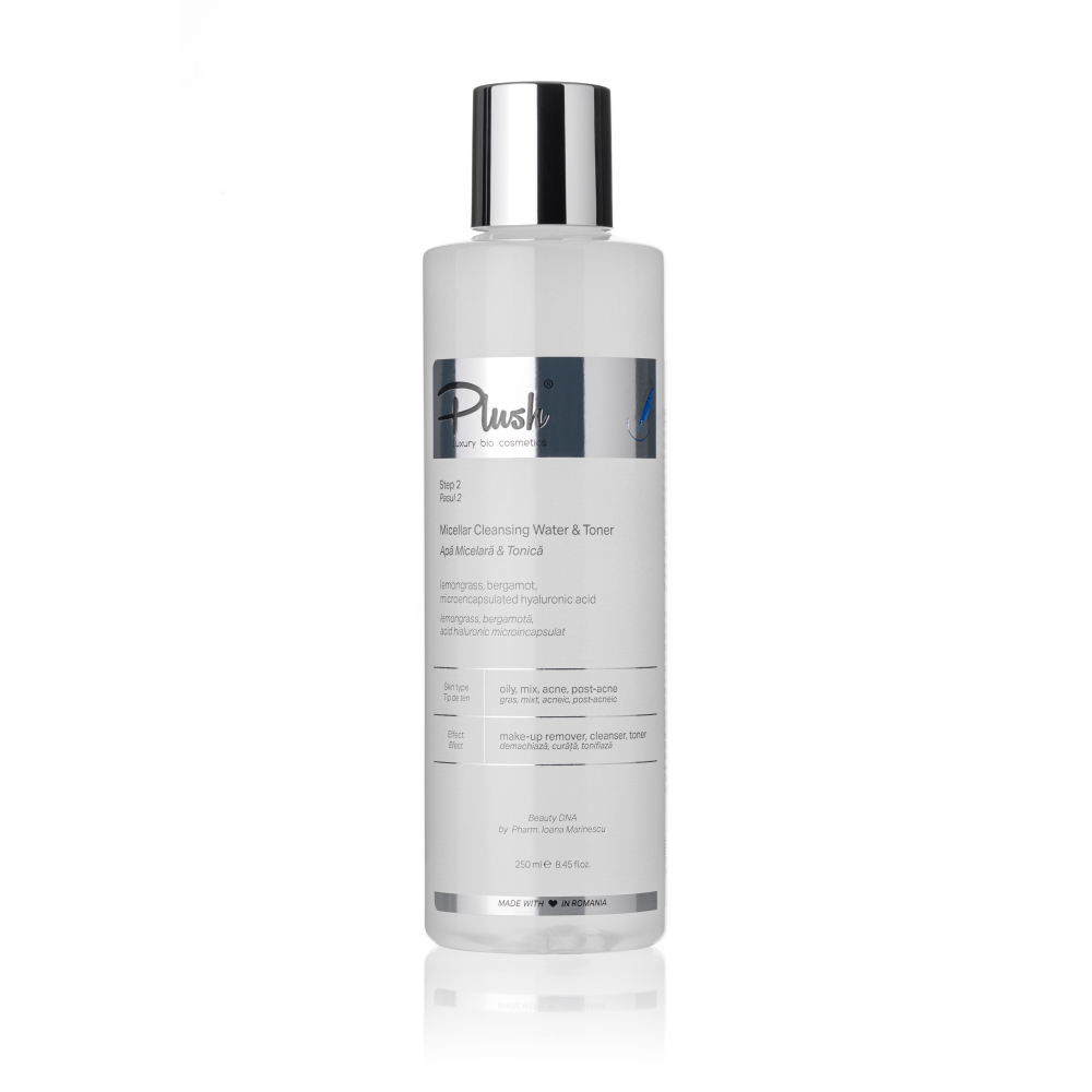 Micellar & Tonic water with lemongrass bergamot and hyaluronic acid microencapsulated, 250 ml